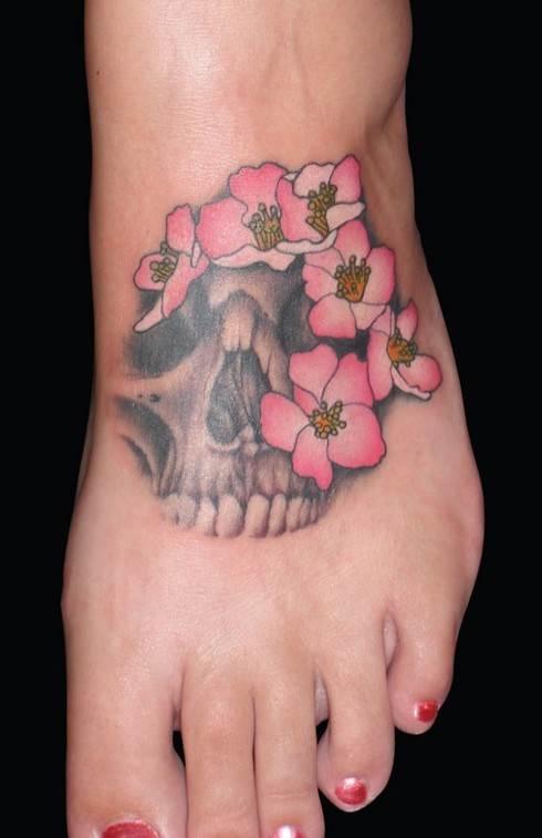 Foot Skull Tattoo for Girls